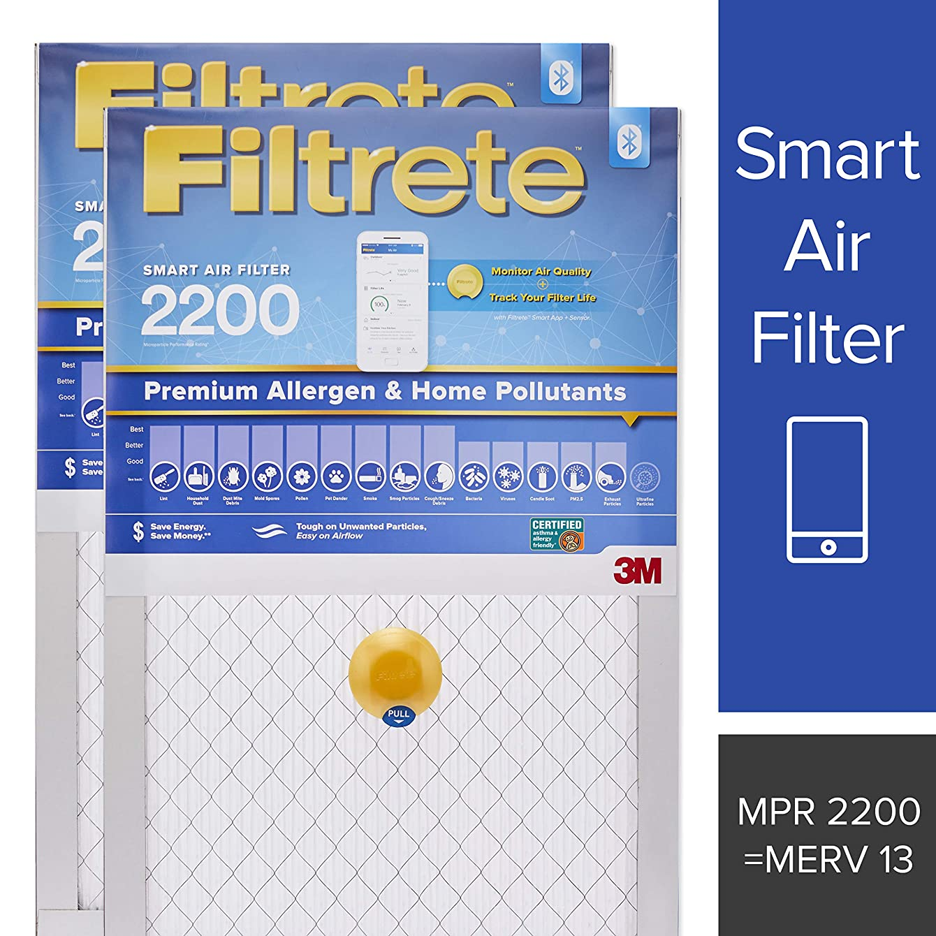 Filtrete 16x25x1 Smart Air Filter, MPR 2200, Premium Allergen & Home Pollutants AC Furnace Air Filter, 2-Pack tgrszufitprcx83