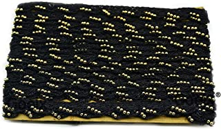 Pankh Border Original Handmade Moti Pearl Bead Embellished Lace for Dresses, Sarees, Suits, Blouses, Dupattas, Bags, Bed Covers, Art & Craft in Black Colors Pack of 9 Mtrs/ 9.5 Yard