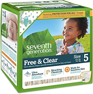 Seventh Generation Free and Clear Stage 5 Baby Diaper - 46 per pack