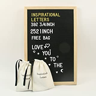 Rowe's Enterprise Premium Black Felt Letter Board: with Emojis 392 3/4 inch and 252 1 inch Changeable White and Gold Plastic Letters Oak Wood Framed 12 x 18 in. Also Free Bags.