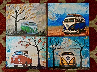 1960's to 1970's Volkswagen Bus, artist signed PHOTO PRINTS of my paintings, Set of 4 8x10's, Surfboards, VW Bus, Camper Bus, fathers day, gift, christmas, present, men, man, print