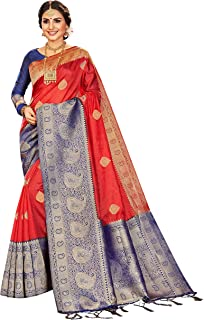 Sarees for Women Banarasi Art Silk l Indian Rakhi Wedding Diwali Gift Sari with Unstitched Blouse