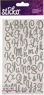 Sticko Sweetheart Silver Script Alphabet Sticker