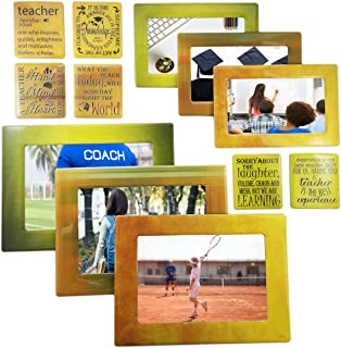 Sheen Teacher - Magnetic Picture Frames and Refrigerator Magnets with Inspirational Quotes (12 Piece) Photo Collage - Teacher Gift - Teacher Appreciation Gift - Coach - Trainer - Mentor