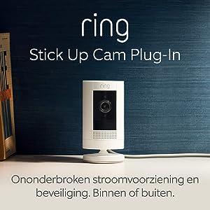 Ring Stick Up Cam Plug-In, HD-beveiligingscamera met tweeweg-audio | Inclusief proefabonnement van 30 dagen op Ring Protect Plus | Wit