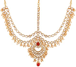 I Jewels Gold Plated Traditional Kundan & Pearl Matha Patti/Maang Tikka for Women (T2014M)