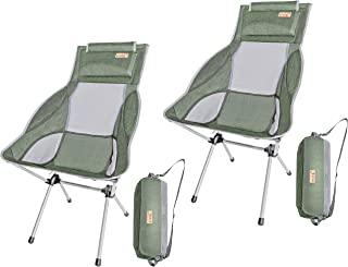 Nice C Ultralight High Back Folding Camping Chair, with Headrest, Outdoor, Backpacking Compact & Heavy Duty Outdoor, Camping, BBQ, Beach, Travel, Picnic, Festival with Carry Bag