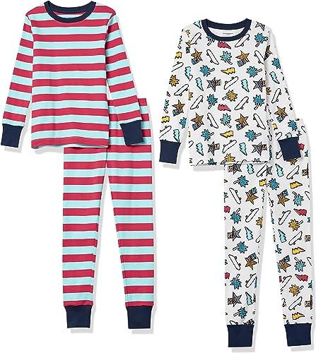 Amazon Essentials Snug-fit Cotton Pajamas Sleepwear Sets Conjunto de Pijama Niños (Pack de 2)