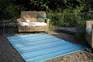Fab Habitat Reversible Rugs | Indoor or Outdoor Use | Stain Resistant, Easy to Clean Weather Resistant Floor Mats | Cancun - Turquoise & Moss Green, (4' x 6')