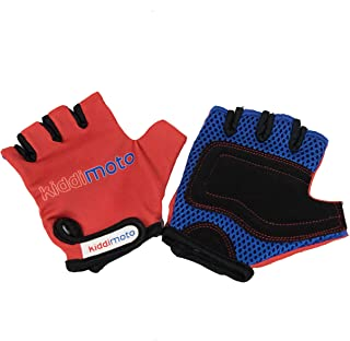 Kiddimoto Kids Toddler Fingerless Gloves for Balance/Pedal Bikes and Scooters (Red)