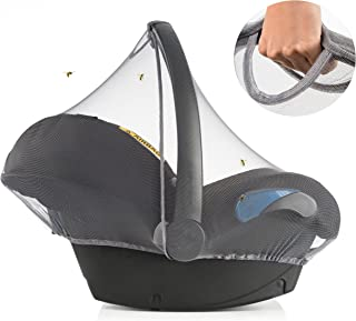 Zamboo Mosquitera Grupo 0+ (compatible Maxi-Cosi, Cybex, Römer) | Red antiinsectos silla de coche, resistente, goma elásti...