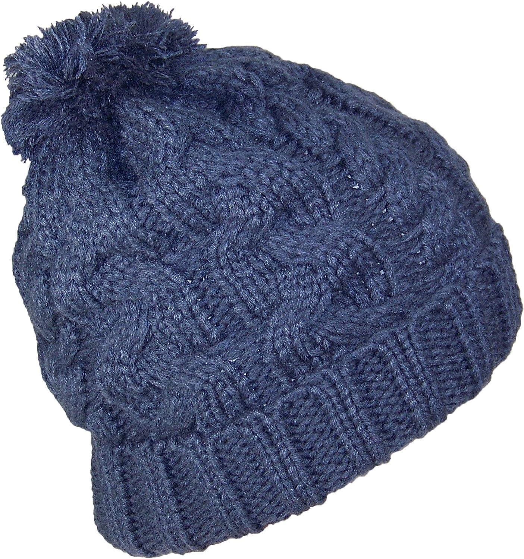 Best Winter Hats Thick Cuffed Cable & Rib Knit Beanie W Pom Pom (One Size)