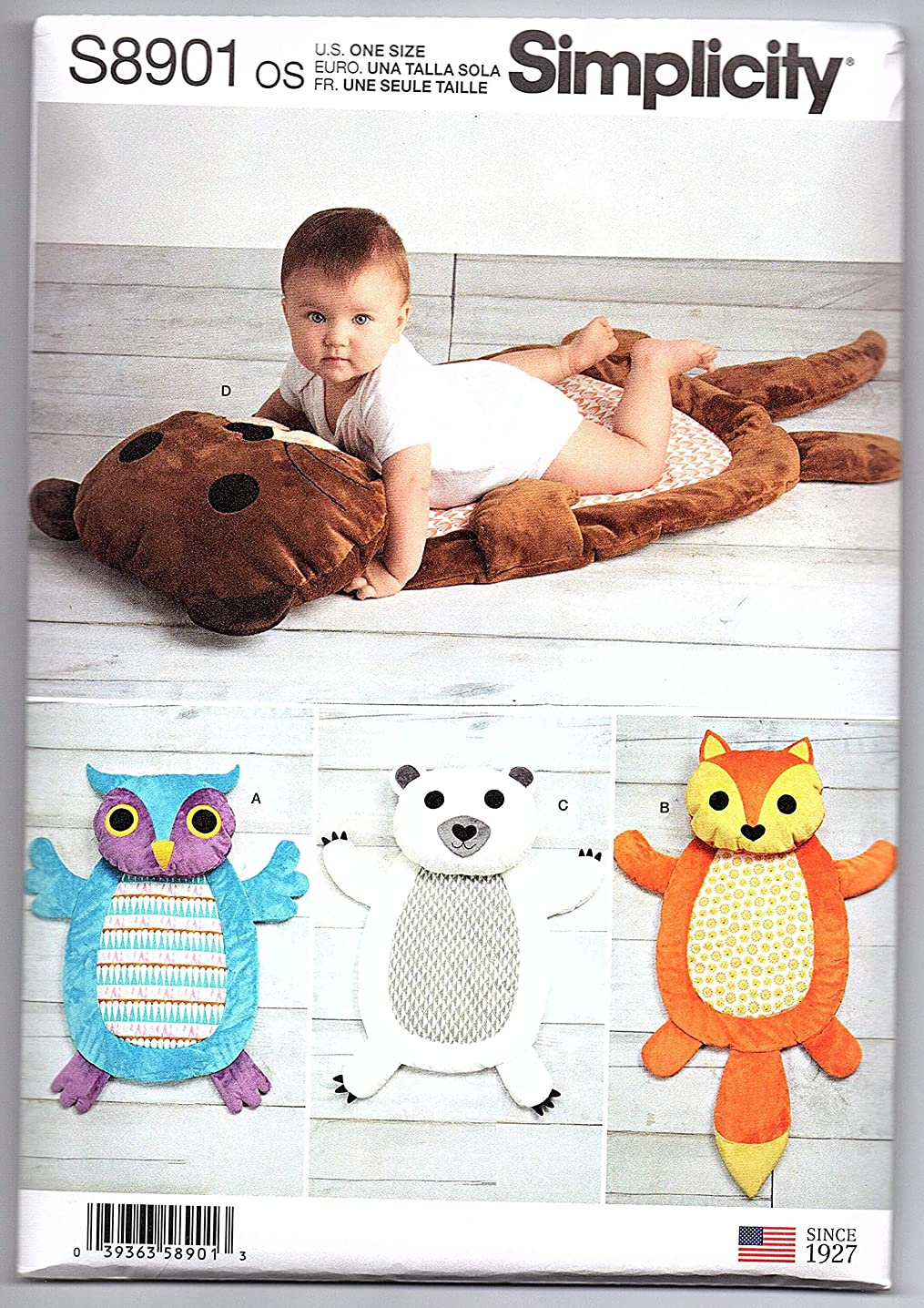 Simplicity Sewing Pattern S8901 - Use to Make - 4 Designs of Baby Tummy Time Animal Mats