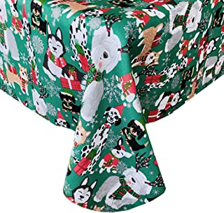 Newbridge Whimsical Christmas Dogs Fabric Holiday Tablecloth - Cute Christmas Puppies in Hats and Scarves for The Holidays, No Iron and Stain Resistant Fabric Tablecloth, 52