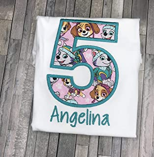 Girls Embroidered Skye Everest Paw Patrol Birthday Shirt Personalized Custom with Name 2nd 3rd 4th 5th 6th