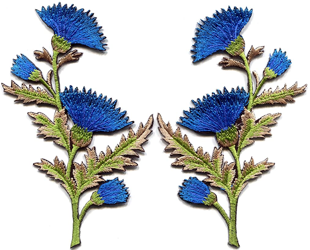 Blue carnation spray thistle pair flowers floral bouquet embroidered appliques iron-on patches pair new