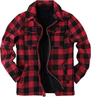 Mens Plaid Jacket Sherpa Jacket Checked Fleece Lined Flannel Coat Long Sleeve Zipped Casual Winter Overcoat Outerwear