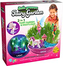 Little Growers Fairy Garden Craft Kit with Enchanted Unicorn and Light-Up Fairy Lights - Paint, Plant and Grow Your Very O...