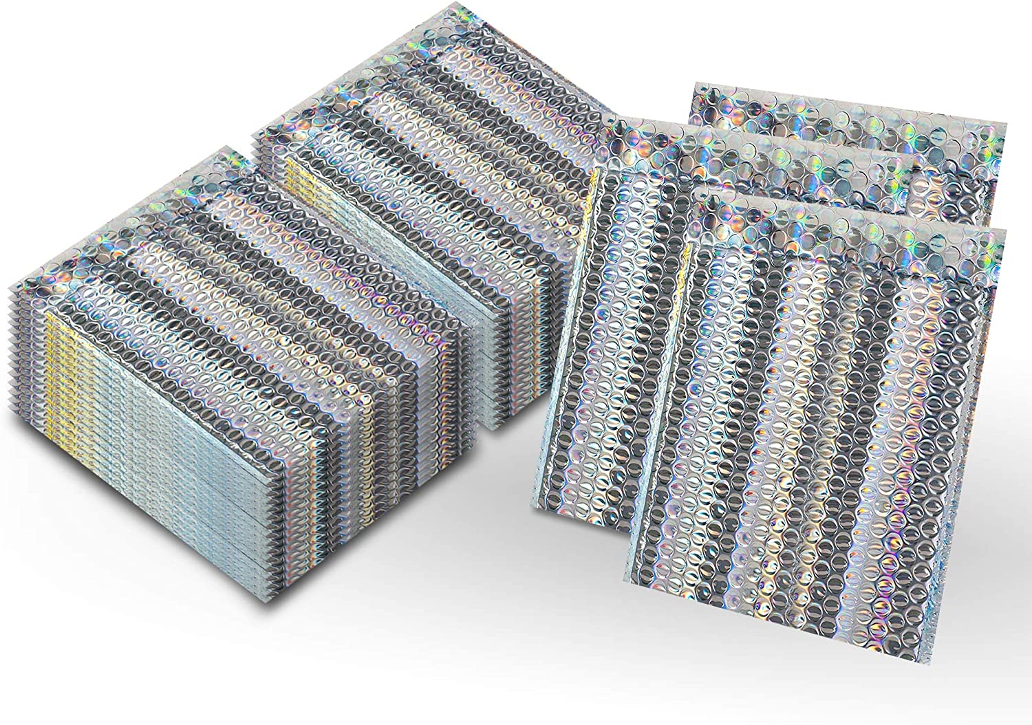 Amiff Pack of 250 Holographic Bubble Glamour Max 82% OFF 9 Mailers 6.5 x Bombing free shipping Pad