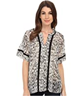 TWO by Vince Camuto - Short Sleeve Gravel Plains Y-Neck Tent Blouse