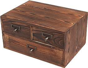 Small Rustic Dark Brown Wood Office Storage Cabinet/Jewelry Organizer w/ 3 Drawers - MyGift