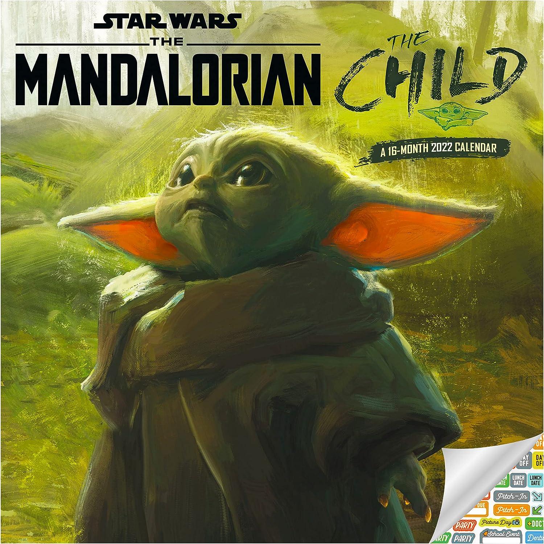 Star Wars The Child Calendar 2022 -- Deluxe 2022 Mandalorian Wall Calendar Bundle with Over 100 Calendar Stickers (Grogu Gifts, Office Supplies)…