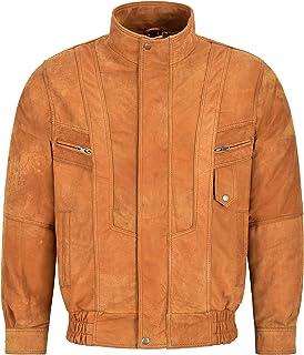 Men's Real Leather Jacket Blouson Bomber Tan Buff Classic Gents Lambskin Jacket 303