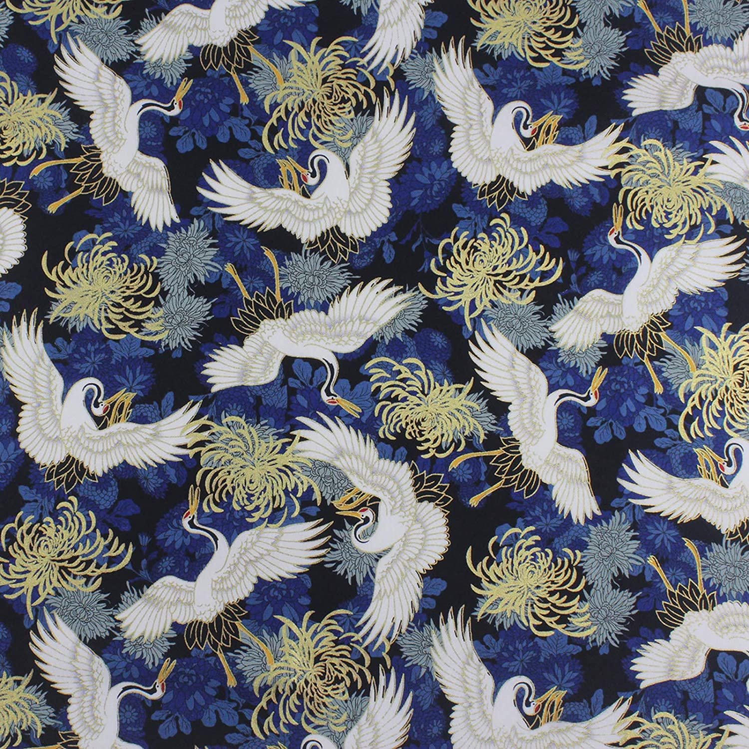 Japanese Traditional Printed Fabric Wrapping, Furoshiki Wrapping Cloth, Gift Wrapping Cloth (Flower and Crane)