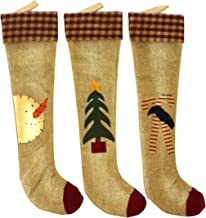 CVHOMEDECO. Primitives Rustic Design 18 Inch Christmas Tree Hanging Stockings Vintage Snowman, Tree, Crow and Candy Cane X...