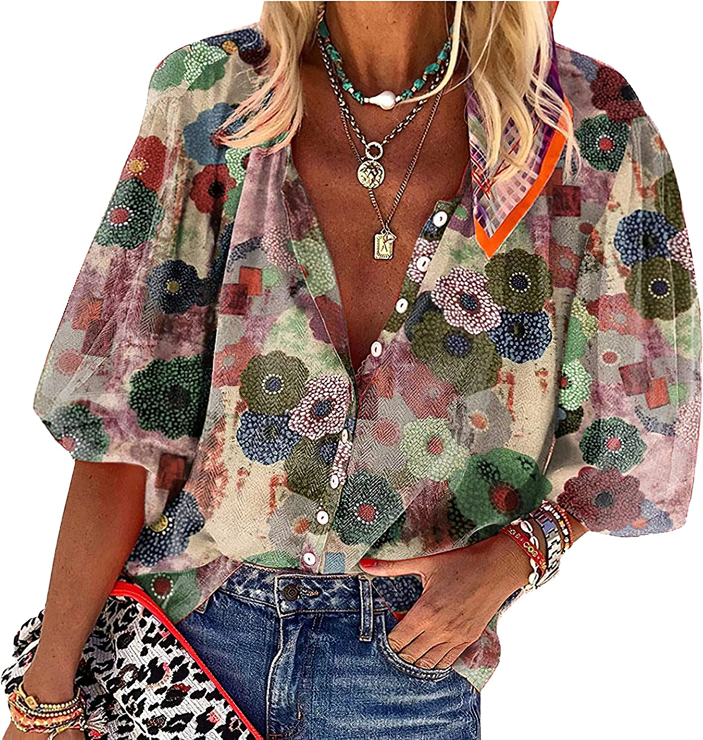 Womens Floral Printed Chiffon T-Shirt Summer Lapel V Neck 3/4 Shirts for Women Tops Button Down Blouses Casual Tunic