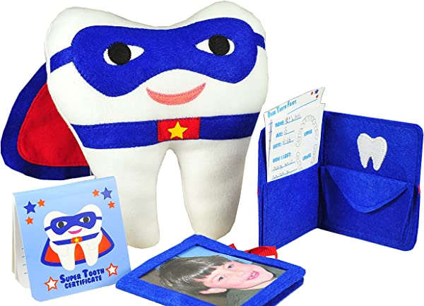 Tickle Main Tooth Fairy Superhero Pillow With Notepad And Keepsake Pouch 3 Piece Set Includes Boy S Pillow With Pocket Dear Tooth Fairy Notepad Keepsake Photo Pouch