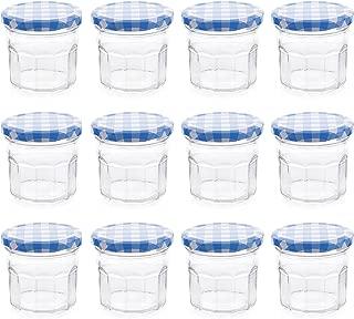 Klean Shop Jam Jars With Lids – Blue Lid Jam Jar Set – Fruit Mason Jar – Glass Jam Canning Jars – DIY 4oz (120ml), 12 Pack Jars- Perfect for Jam Storing, Pickles and Many Other
