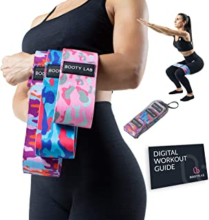Booty Lab Fabric Resistance Bands, 3 Pc. Set, Progressive Fitness Training Loops for Legs, Hips, Glutes, and Core Toning, ...