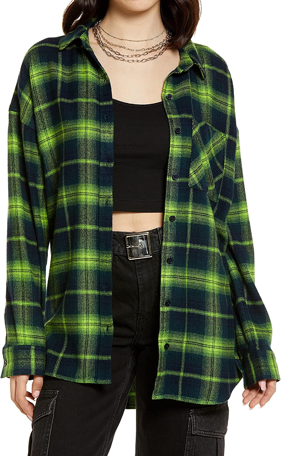 Women's Flannel Plaid Shirts Long Sleeves Oversized Work Button Down with Pockets Cardigan Roll Up Tops