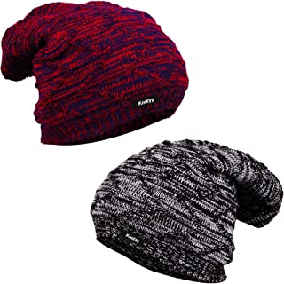 3a28e5dc Knotyy Men's & Women's Combo Of Woolen Beanie Caps (Pack Of 2_Multicolor)