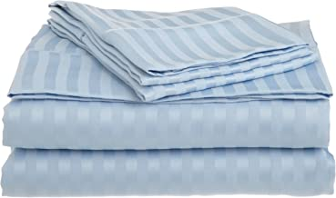 Superior 1500 Series 100% Brushed Microfiber 3-piece Twin Bed Sheet Set Stripe, Light Blue - Deep Pocket, Super Soft and Wrinkle Resistant