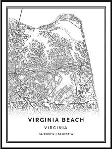 Squareious Virginia Beach map Poster Print | Modern Black and White Wall Art | Scandinavian Home Decor | Virginia City Prints Artwork | Fine Art Posters 9x11