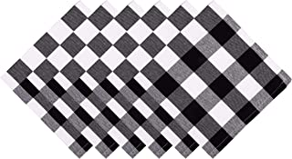Yourtablecloth Buffalo Plaid 100% Cotton Cloth Checkered Dinner Table Napkins – Vibrant Colors – Soft & Super Absorbent Napkins 20 x 20 Set of 6 Black and White