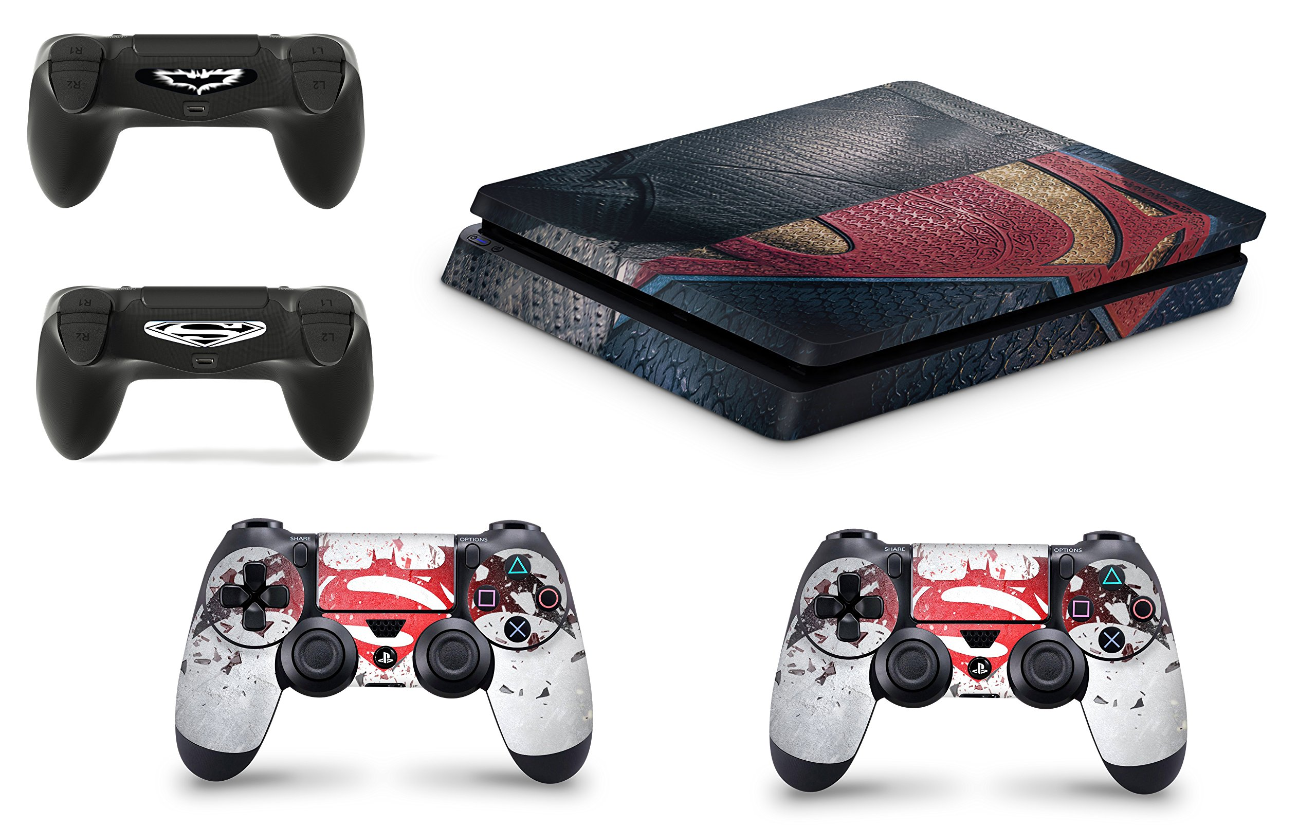 giZmoZ n gadgetZ Skins Adhesivos GNG para Cubierta de Playstation 4 PS4 Slim de Superman + 2 Sets de Skins del Controlador: Amazon.es: Electrónica