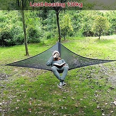 FOCLOCNROAD Aerial Camping Hammock Outdoor Hammock Portable 3 Point Design Hammock Multifunction Triangle Hammock for Camping