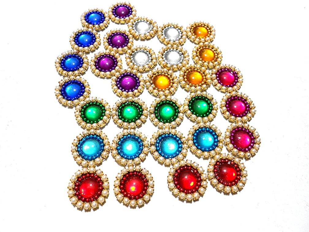 Goelx Pearl Patches Colorful Round Shape Handmade Appliques Embellishments for Decoration, Crafts Ideas, Jewelery Making, Easy to Use Pack of 50 - Multi Color (15mm)