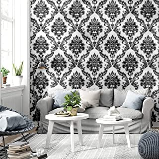 Blooming Wall Vintage Vinyl Black Damasks Wallpaper, Priced in Double Rolls