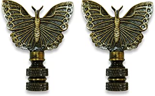 Royal Designs Monarch Butterfly Lamp Finial for Lamp Shade-Antique Brass Set of 2