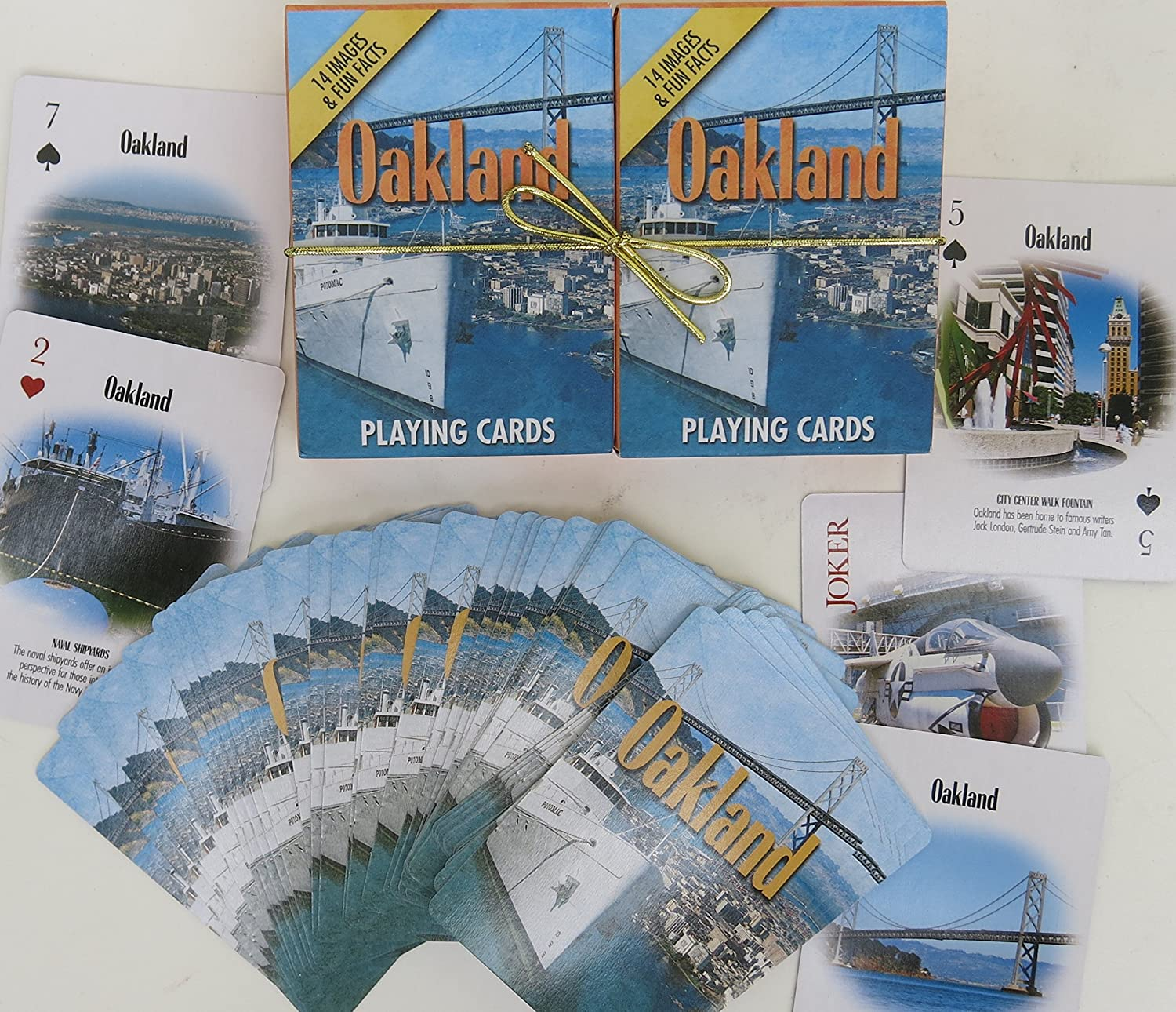 Oakland, Souvenir Playing Cards, Vacation Gift. Card Faces Feature Multiple Landmarks, Ousttanding Tourist Gift. The Two Deck Set Includes a gold Gift Ribbon