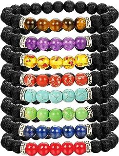 Chakras Bracelet 8 Pack Bead Gemstone Bracelet for Men Women Natural Stone Diffuser Bracelet Stretch Yoga Bracelets