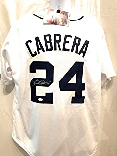 Miguel Cabrera Detroit Tigers Signed Autograph White Custom Jersey JSA Witnessed Certified