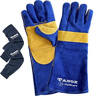 Tanox Leather Welding Gloves and Sleeves: Extreme Heat and Fire Resistant Reinforced Versatile Gloves with Protective Cotton Armwear with Elastic Cuffs