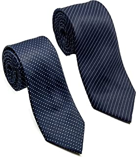 Luxeis Men Premium Neck Tie Combo (Navy Blue Stripe, Navy Blue Dot; Free Size) (Pack of 2)