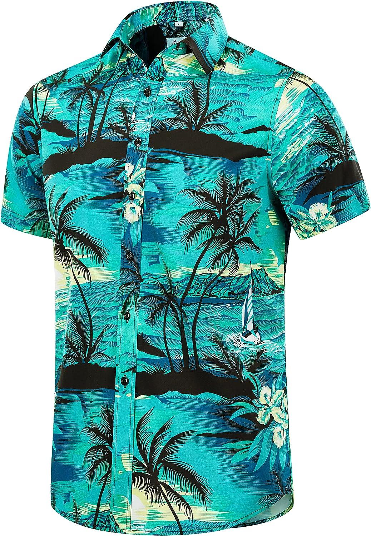 EUOW Men's Special sale item Hawaiian Shirt Short Summ Button Sleeves Printed wholesale Down