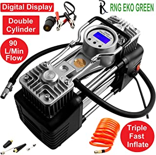 RNG EKO GREEN - Digital Triple High Speed Double Cylinder Nuclear Car Air Compressor- Black (100% Copper Winding, 12V/220W/160PSI, Triple Fast inflate 90L/min, Low Noise 85 db)
